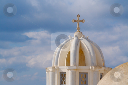 Dome and Cross From Santorini, Greece stock photo, Close-up of dome and cross from Santorini, Greece on a summer day. by Andy Dean