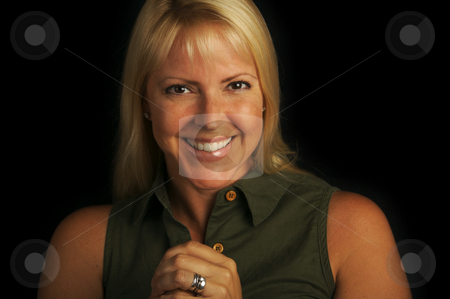 Attractive Blond Haired, Brown Eyed Woman stock photo, Attractive Blond Haired, Brown Eyed Woman on a black background. by Andy Dean