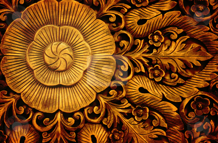 Flower Carving stock photo, A wooden carving with a floral motif. by Nathan Smith