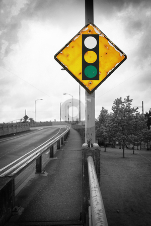 No Red stock photo, A traffic sign with the red light missing. by Nathan Smith