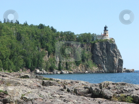 Split Rock Lighthouse, Minnesota stock photo, Split Rock Lighthouse is Minnesota's most famous lighthouse and sits high on top of a rocky cliff above the northern Lake Superior shoreline. by Dennis Thomsen