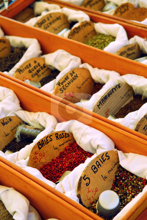 Spices on the market stock photo, Assorted spices for sale on french farmers market in Perigueux, France by Elena Elisseeva