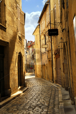 Narrow street in Perigueux stock photo, Narrow medieval street in town of Perigueux, Perigord, France by Elena Elisseeva