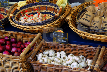 Vegetables on the market stock photo, Fresh vegetables for sale on french farmers market in Perigueux, France by Elena Elisseeva