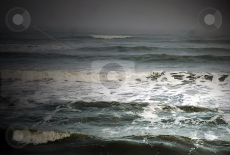 Misty Waves During Storm stock photo, Fog and mist combine with waves during thunderstorm by Marburg