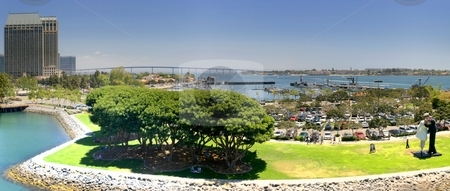 San Diego stock photo, View over the San Diego harbor. by Henrik Lehnerer