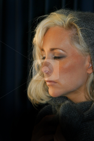 Woman Tired stock photo, Portrait of a beautiful young woman with blond hair by Henrik Lehnerer