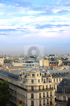 Paris rooftops stock photo, View on Paris rooftops with blue sky by Elena Elisseeva