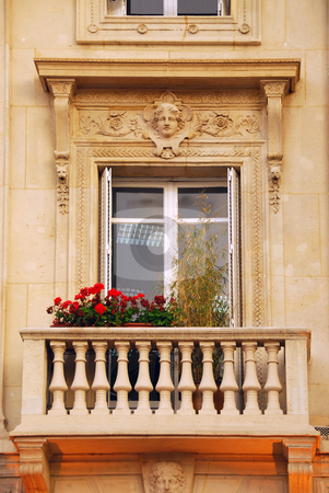 Old window stock photo, Old window with balcony and flower boxes in Paris France by Elena Elisseeva