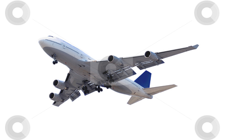 Airplane on white stock photo, Big passenger airplane isolated on white background by Elena Elisseeva