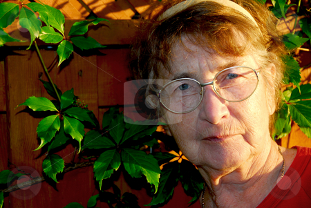 Elderly woman stock photo, Portrait of an elderly woman outside with green vines by Elena Elisseeva