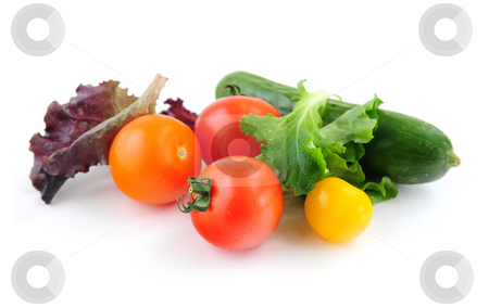 Fresh vegetables stock photo, Assorted fresh vegetables isolated on white background by Elena Elisseeva