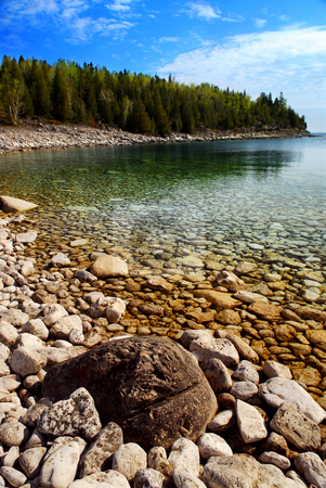Lake landscape stock photo, Clear waters of Georgian Bay at Bruce peninsula Ontario Canada by Elena Elisseeva