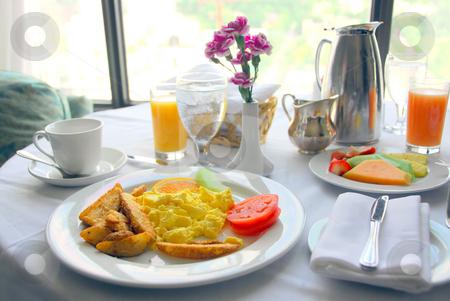 Breakfast stock photo, Breakfast for two served in a hotel room by Elena Elisseeva
