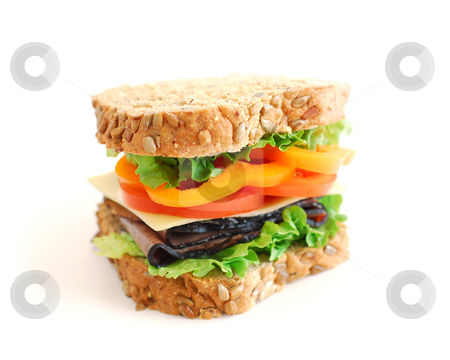 Sandwich stock photo, Big healthy sandwich isolated on white background by Elena Elisseeva