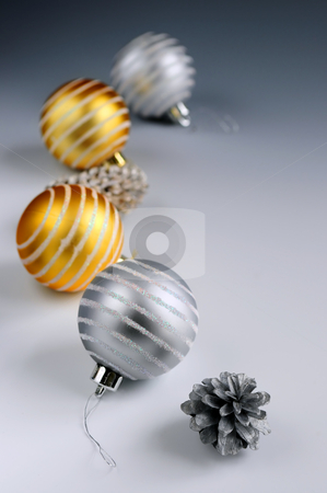 Christmas ornaments stock photo, Christmas arrangement with glass bauble ornaments and pine cones by Elena Elisseeva