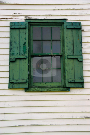 Old window stock photo, Window with shutters on old mill building by Elena Elisseeva