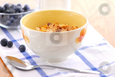 Healthy breakfast stock photo, Healthy breaksfast of cereal, milk and blueberries by Elena Elisseeva