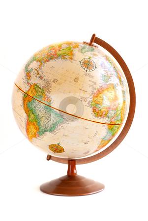 Globe stock photo, Old fashioned globe isolated on white background by Elena Elisseeva