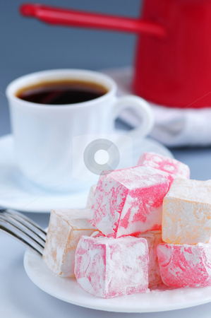 Turkish delight stock photo, Turkish delight (lokum) confection with black coffee and traditional coffee pot by Elena Elisseeva