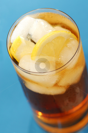 Iced tea stock photo, Glass of cold lemon iced tea with water drops on surface by Elena Elisseeva