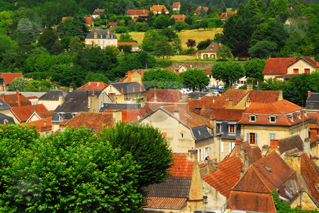 Rooftops in Sarlat, France stock photo, Red rooftops of medieval houses in Sarlat, Dordogne region, France. by Elena Elisseeva