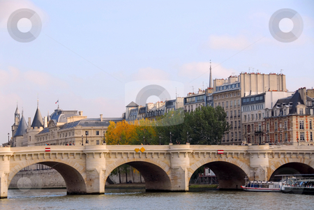 Paris Seine stock photo, Stone bridge over Seine in Paris France by Elena Elisseeva