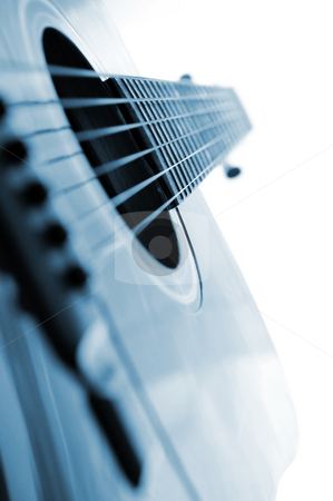 Guitar close up stock photo, Acoustic guitar close up on white background by Elena Elisseeva