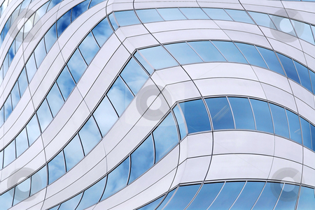Futuristic skyscraper background stock photo, Abstract background of distorted office building walls by Elena Elisseeva