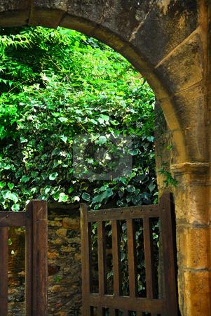 Garden gate in Sarlat, France stock photo, Garden gate in medieval town of Sarlat, Dordogne region, France by Elena Elisseeva