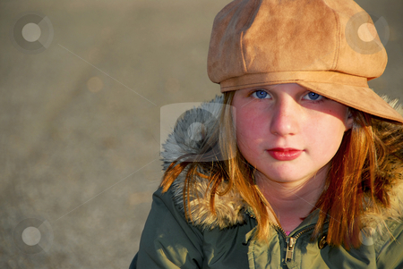Girl winter clothes stock photo, Portriat of a girl in winter or fall clothes outside by Elena Elisseeva