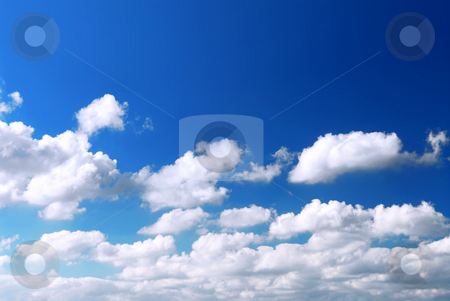 Sky background stock photo, Background of deep blue sky with white fluffy clouds at the bottom by Elena Elisseeva