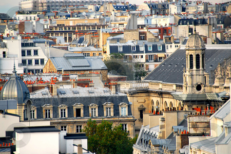 Paris rooftops stock photo, Scenic view on rooftops in Paris France by Elena Elisseeva