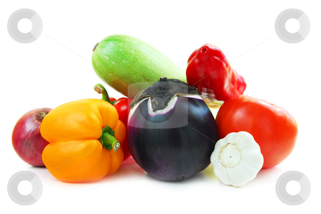 Assortment of vegetables stock photo, Assorted garden vegetables isolated on white background by Elena Elisseeva