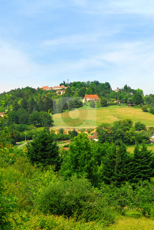 Rural landscape in France stock photo, Scenic view on rural landscape in Perigord, France. by Elena Elisseeva