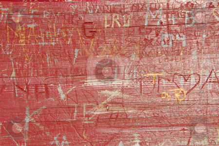 Old wood stock photo, Abstract background of old wood surface with carved graffiti by Elena Elisseeva