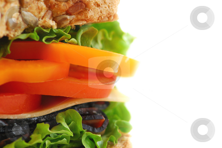 Sandwich stock photo, Big healthy sandwich isolated on white background with copy space by Elena Elisseeva