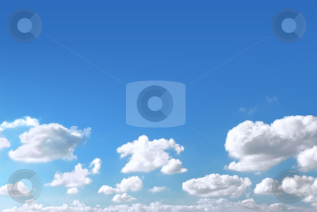 Sky background stock photo, Background of light blue sky with white fluffy clouds at the bottom by Elena Elisseeva