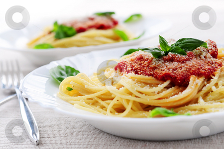 Pasta and tomato sauce stock photo, Pasta with tomato sauce basil and grated parmesan by Elena Elisseeva