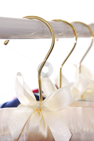 Hangers stock photo, Luxury padded dress hangers on a clothes rack by Elena Elisseeva