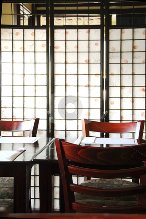 Japanese restaurant stock photo, Interior of a modern japanese restaurant with rice paper screen by Elena Elisseeva