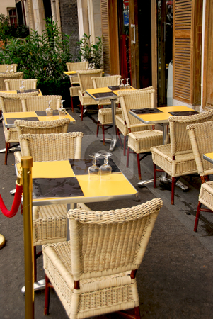 Paris cafe stock photo, Outdoor patio of a cafe in Paris France by Elena Elisseeva