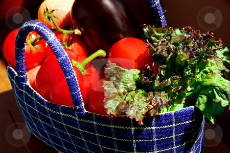 Vegetables stock photo, Fresh vegetables and fruits in a basket by Elena Elisseeva