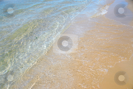 Beach wave sand stock photo, Waves on sandy beach, closeup by Elena Elisseeva