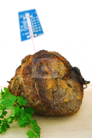 Beef roast stock photo, Beef roast just out of the oven with a meat thermometer by Elena Elisseeva