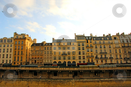Paris houses stock photo, Row of houses on bank of Seine in Paris France by Elena Elisseeva