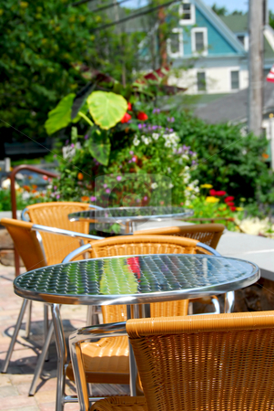 Outdoor cafe stock photo, Beautiful inviting outdoor cafe at summer time by Elena Elisseeva