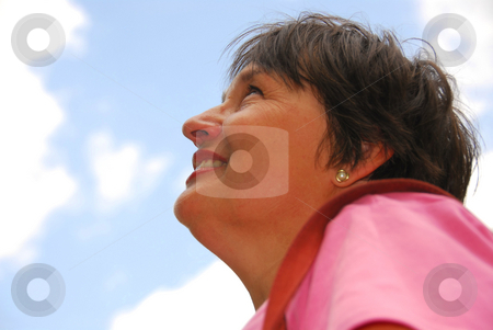 Optimistic woman stock photo, Optimistic woman looking up blue sky by Elena Elisseeva