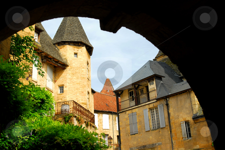 Medieval Sarlat, France stock photo, View from the arch in medieval town of Sarlat, France by Elena Elisseeva