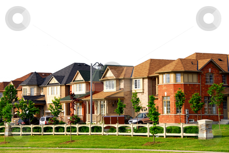 Houses stock photo, Row of new residential houses in suburban neighborhood by Elena Elisseeva